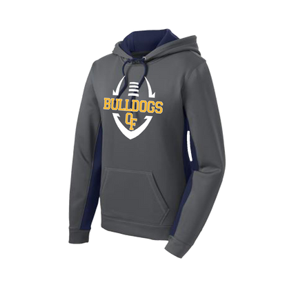 Bulldog Football Ladies Colorblock Performance Hoody