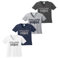Stallions Mom Ladies V-Neck Tee