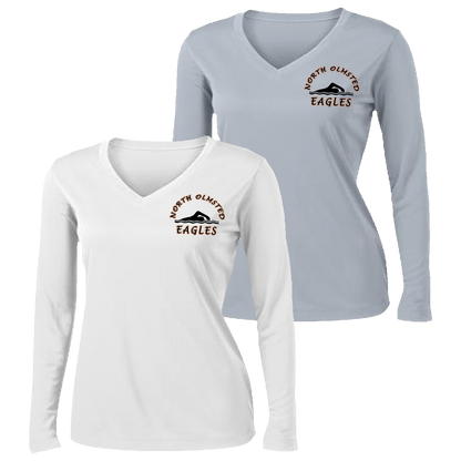 NOHS Swim & Dive Ladies Performance V-Neck LS Tee