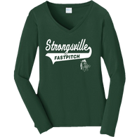 Strongsville Mustangs Ladies V-Neck LS Tee