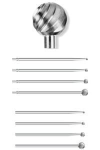 Carbide Bur, Length: 70mm; Various Head Diameters; 1 each
