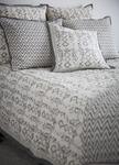 Yala Avani Organic Cotton Block Print Quilt - Grey Chevron & Ikat