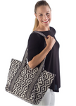 Yala Cotton Canvas Tote - Black Aztec