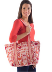 Yala Cotton Canvas Tote - Mandarin/Red Ikat