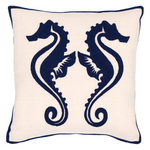 Fresh American Sea Horse Navy Indoor/Outdoor Pillow