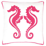 Fresh American Sea Horse Fuchsia Indoor/Outdoor Pillow