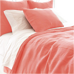 Pine Cone Hill Stone Washed Linen Coral Duvet Cover