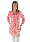 Yala Organic Cotton Gwen Dress - Mandarin / Red Ikat