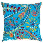 Pine Cone Hill Amelie Turquoise Embroidered Square Pillow