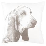 Fresh American Basset White Decorative Pillow