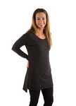 Bamboo Dreams® Gia Tunic - Black/Iron Stripe