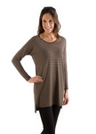 Bamboo Dreams® Gia Tunic - Black/Toffee Stripe