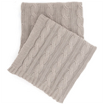 Pine Cone Hill Comfy Cable Knit Pearl Grey Throw