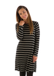 BambooDreams® Maria Sweater Tunic - Black/Natural Stripe