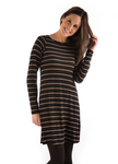BambooDreams® Maria Sweater Tunic - Black/Toffee Stripe