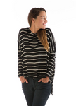 BambooDreams® Jennifer Sweater Top - Black/Natural Stripe