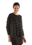 BambooDreams® Jennifer Sweater Top - Black/Toffee Stripe