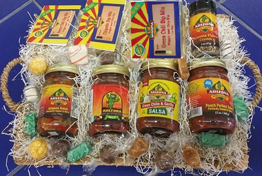 Eight item Gift basket With Candy. Sweet and spicy.  Mild to Medium