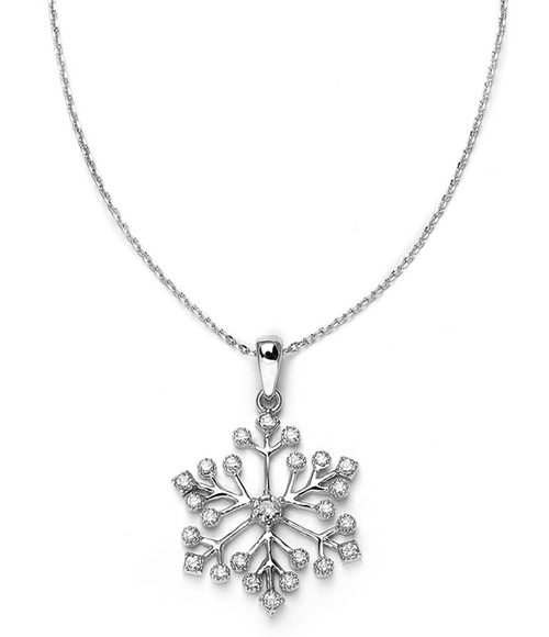 Winter Wedding Cubic Zirconia Snowflake Necklace Pendant