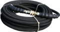 """6000 PSI - 3/8"""" R2 - 100' Black Quality Pressure Hose With Stainless Steel Quick Connects"""