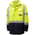 **PACK OF 2** High Visibility Rain Jackets, GSS 6003 Class 3 Rain Coat, Hi-Vis Lime/Black ***FREE SHIPPING***