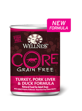 Wellness Core Grain Free Turkey, Pork Liver & Duck Formula, Natural Food for Adult Dogs, 12.5 oz can