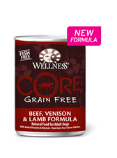Wellness Core Grain Free Beef, Venison & Lamb Formula, Natural Food for Adult Dogs, 12.5 oz. can