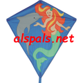 "Mermaid & Dolphin : 30"" Diamonds (15309) Kite"