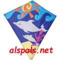 "Happy Dolphin : 30"" Diamonds (15435) Kite"