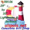59106 Lighthouse Boat : Garden Charms Inflated (59106)