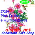 57214  Pink Daisies & Hummingbirds : Illuminated House Flag (57214)