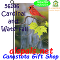 56186  Cardinal & Waterfall : Garden Flag by Premier Illuminated (56186)