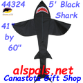 44324  Shark ( Black )5 ft.: Sea Life Kite by Premier (44324)