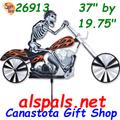 """Skeleton Motorcycle 37"""" , Motorcycle Wind Spinner (26913)"""
