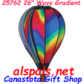 "Wavy Gradient 26"" Hot Air Balloons (25762) Wind Spinner. This 26"" Wavy Gradient Hot Air Balloon is a vibrant display of colors. It certainly puts you in a happy state of mind as it rotates in a breeze."