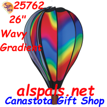 "Wavy Gradient 26"" Hot Air Balloons (25762) Wind Spinner. This 26"" Wavy Gradient Hot Air Balloon is a vibrant display of colors. It certainly puts you in a happy state of mind as it rotates in a breeze"