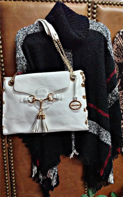Ladies' White Vegan Leather Handbag