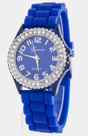 Royal Blue Geneva Silicone Rubber Rhinestone Bling  Watch