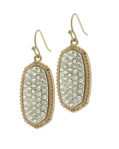 CLEAR & GOLD PAVE CRYSTAL DROP EARRINGS