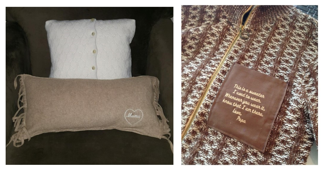 ... a touch of embroidery make these memory pillows perfect for display in  the home. You can simply add a pocket embroidered with a personal message  if you ...