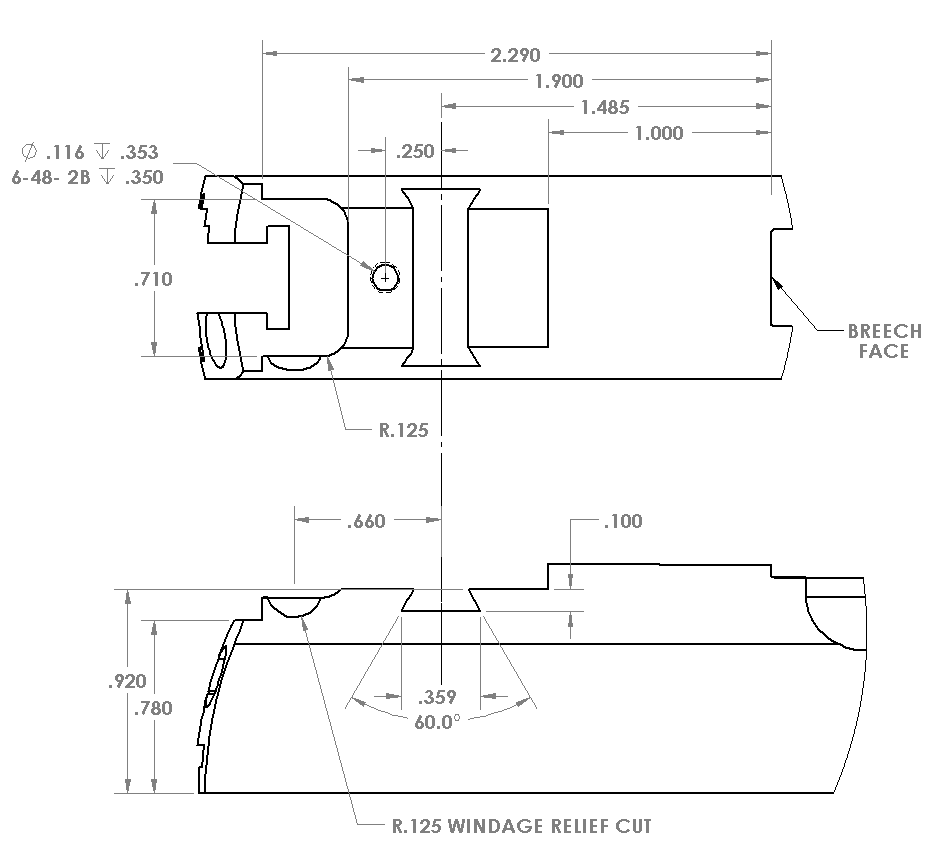This image includes the dimensions for the BoMar BMCS slide dovetail.