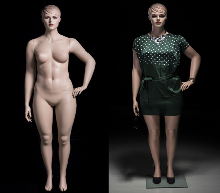 Realistic Plus Size Female Mannequin Fleshtone with Molded Hair MM-AVIS-03