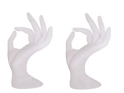 "2 White Fiberglass Display Hands 7"" Tall MM-JW-A5WH"