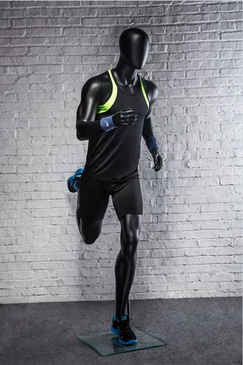 Otis, Athletic Matte Black Male Running Mannequin MM-PB5BK02