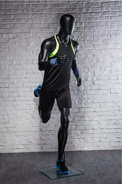 Otis, Athletic Matte Black Male Running Mannequin MM-PB5BK02