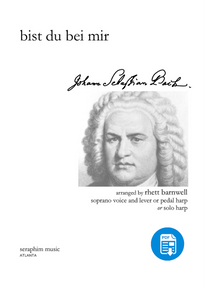 Bist Du Bei Mir (High Voice and Harp)-J. S. Bach, arr. Rhett Barnwell - PDF
