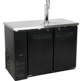 Black Kegerator / Beer Dispenser w/ Double Tap Tower - (2) 1/2 Keg Capacity-48""