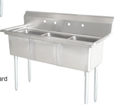 "Sink, 3 Compartment, 77"" Stainless Steel"