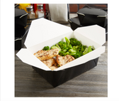 Black Microwavable Folded Paper #4 Take-Out Container - 160/Case