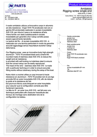 Product information for the AA-Parts rigging screw